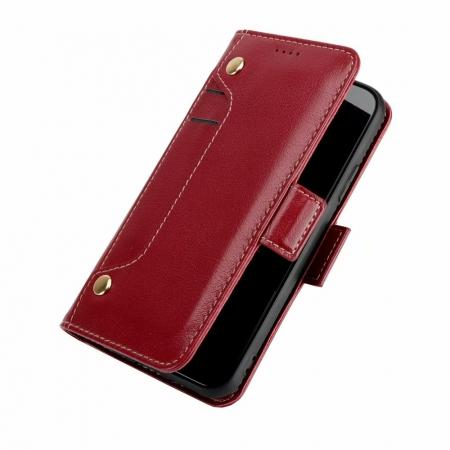 Genuine Yak Hide Card Slots Flip Leather Case For iPhone X - Red