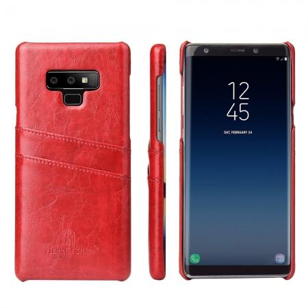 Oil Wax Leather Card Holder Back Case Cover for Samsung Galaxy Note 9 - Red
