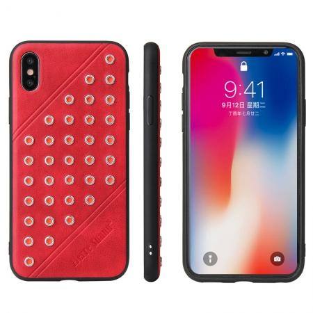 Rivet Design Leather Soft TPU Back Case Cover for iPhone X - Red