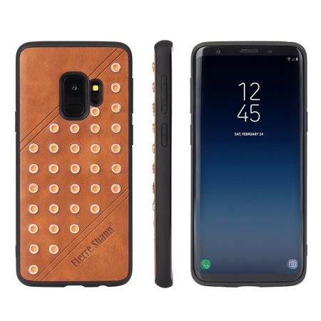 Rivet Design Leather Soft TPU Hybrid Back Case for Samsung S9