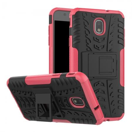 Rugged Armor Shockproof Protective Kickstand Phone Case For Samsung Galaxy J3 (2018) - Hot pink