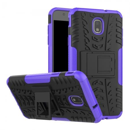 Rugged Armor Shockproof Protective Kickstand Phone Case For Samsung Galaxy J3 (2018) - Purple
