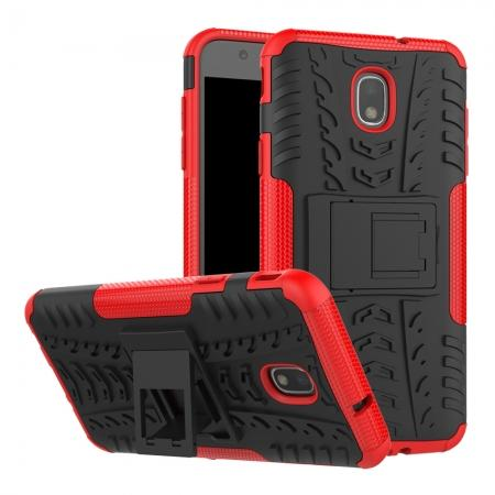 Rugged Armor Shockproof Protective Kickstand Phone Case For Samsung Galaxy J3 (2018) - Red