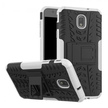 Rugged Armor Shockproof Protective Kickstand Phone Case For Samsung Galaxy J3 (2018) - White