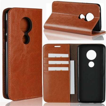 For Motorola Moto E5 Crazy Horse Genuine Leather Case Flip Stand Card Slot - Brown