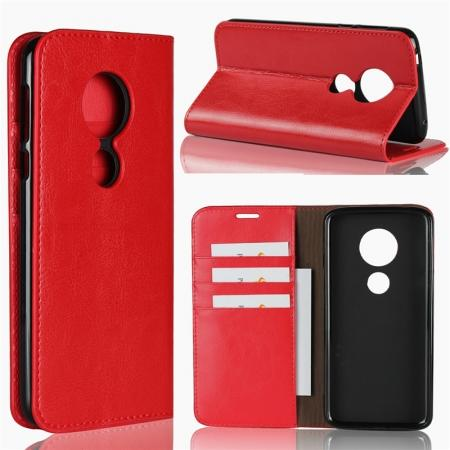 For Motorola Moto E5 Crazy Horse Genuine Leather Case Flip Stand Card Slot - Red