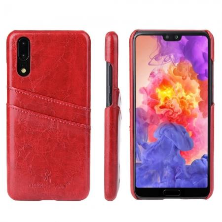 Oil Wax Card Holder Back PU Leather Case for Huawei P20 - Red
