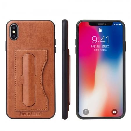 For iPhone XS Max Leather Wallet Case Card Holder Back Stand Cover - Brown