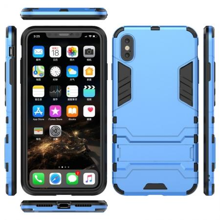 For iPhone XS Max XR XS Hybrid Heavy Armor Rugged Kickstand Hard Case Cover - Blue