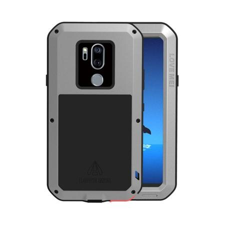 For LG G7 ThinQ/LG G7 Fit LOVE MEI Metal Shockproof Gorilla Glass Case - Silver