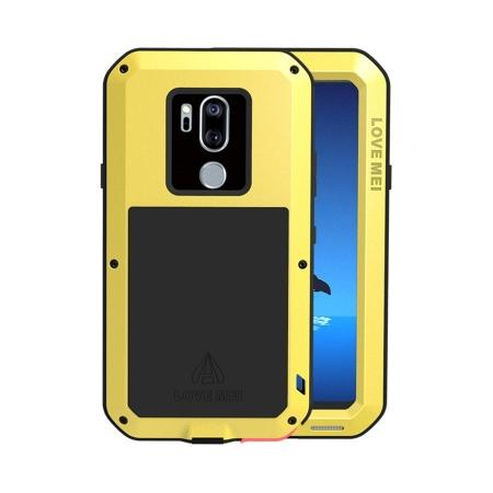 For LG G7 ThinQ/LG G7 Plus ThinQ Heavy Duty Aluminum Metal Case Gorilla Glass Cover Yellow