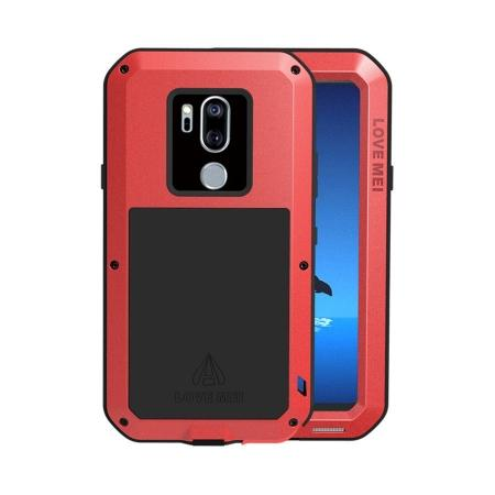 For LG G7 ThinQ/LG G7 Plus ThinQ Shockproof Metal Cover Silicone Case with Screen Protector