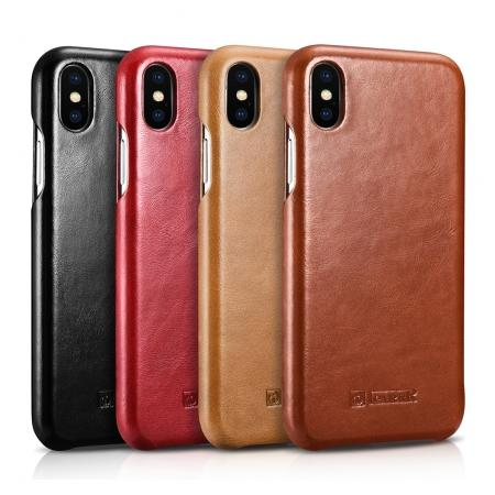 ICARER Vintage Case For iPhone XS Max Curved Edge Flip Real Leather