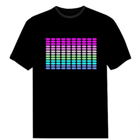 Sound Disco Rave Party Dance Music Activated EL LED T-Shirt