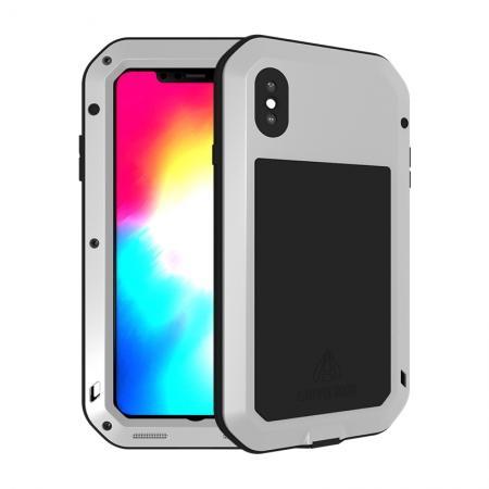 Waterproof Shockproof Metal Aluminum Gorilla Case for iPhone XS Max - Silver