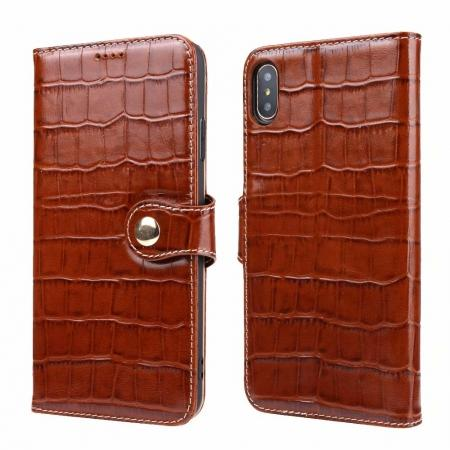 For iPhone XS Max Crocodile Pattern Genuine  Leather Stand Case with Card Slots -  Brown
