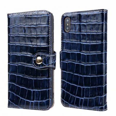 For iPhone XS Max Crocodile Pattern Genuine  Leather Stand Case with Card Slots -  Dark Blue