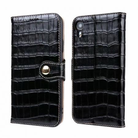 Crocodile Pattern Genuine Leather Case for iPhone XR - Black