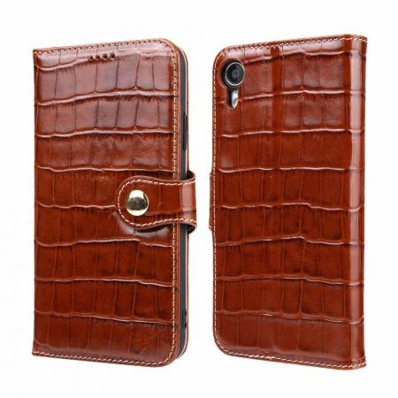 Crocodile Pattern Genuine Leather Case for iPhone XR - Brown