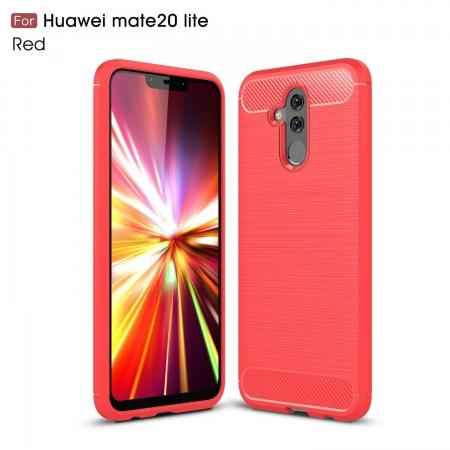 For Huawei Mate 20 Lite Slim Carbon Fiber Flexible Soft TPU Case Shockproof Cover - Red