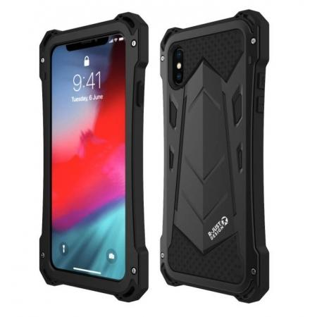 Aluminum Alloy Metal Gorilla Glass Silicone Hybrid Shockproof Dirtproof Case Cover for  iPhone XS Max - Black
