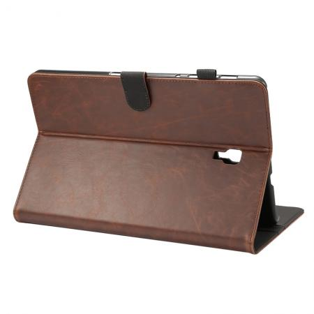 Crazy Horse Texture Stand Leather Case for Samsung Galaxy Tab S4 10.5 T830/T835 - Dark Brown