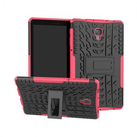 Dual Layer Protection Shockproof Cover Hybrid Rugged Case with Kickstand for Samsung Galaxy Tab A 10.5 [SM-T590/SM-T595] - Hot Pink