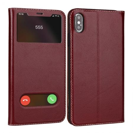 For iPhone X/XS/XS MAX Stand Windows Genuine Leather Flip Case Cover - Wine Red