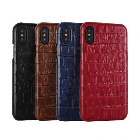 For iPhone Xs Max XR XS 7 8 Leather Crocodile Pattern Hard Back Case Cover