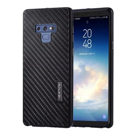 For Samsung Galaxy Note 9 Carbon Fiber Shockproof Metal Aluminum Case Back Cover - Black