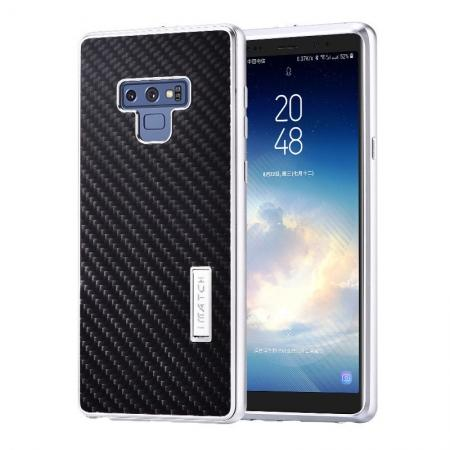 For Samsung Galaxy Note 9 Carbon Fiber Shockproof Metal Aluminum Case Back Cover - Silver