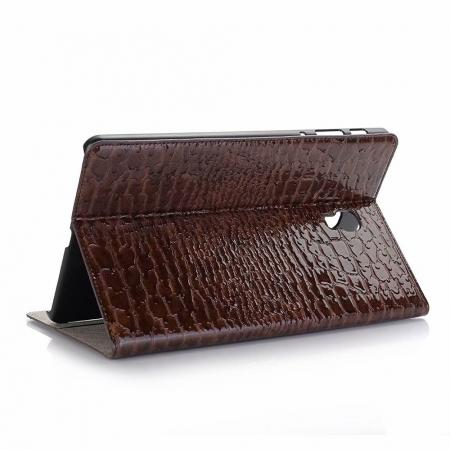 For Samsung Galaxy Tab A 10.5 T590/T595 2018 Crocodile Pattern Stand Leather Case - Brown