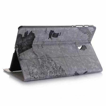 For Samsung Galaxy Tab A 10.5 T590/T595 World Map Stand Flip Leather Case - Grey