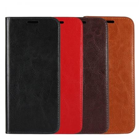 Genuine Leather Wallet Flip Stand Case with Card Slots For Motorola MOTO E5