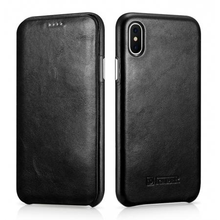 ICARER Curved Edge Vintage Series Genuine Leather Flip Case For iPhone XS - Black