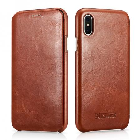 ICARER Curved Edge Vintage Series Genuine Leather Flip Case For iPhone XS - Brown