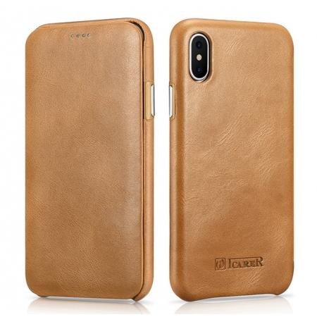 ICARER Curved Edge Vintage Series Genuine Leather Flip Case For iPhone XS - Khaki
