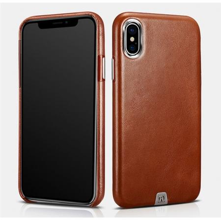 ICARER Genuine Leather Back Case Cover for iPhone XS - Brown