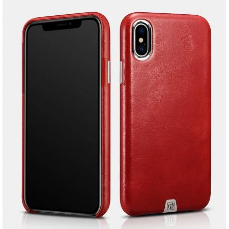ICARER Genuine Leather Back Case Cover for iPhone XS - Red