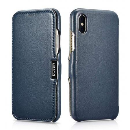 ICARER Luxury Series Genuine Leather Folio Flip Case Cover with Magnetic for iPhone XS Max - Navy Blue