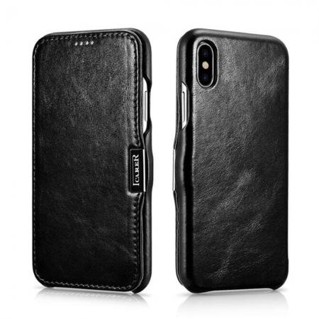 ICARER Vintage Series Genuine Leather Folio Flip Shockproof Case Cover for iPhone XS Max - Black
