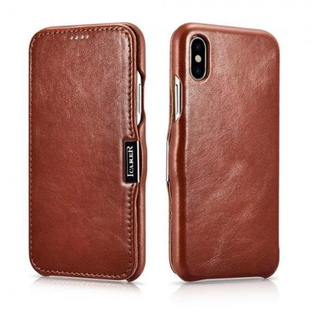 ICARER Vintage Series Genuine Leather Folio Flip Shockproof Case Cover for iPhone XS Max - Brown