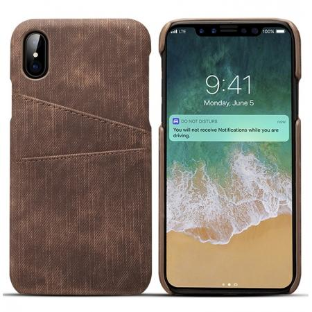 Leather Wallet Credit Card Slot Back Case Skin Cover for iPhone XS - Coffee