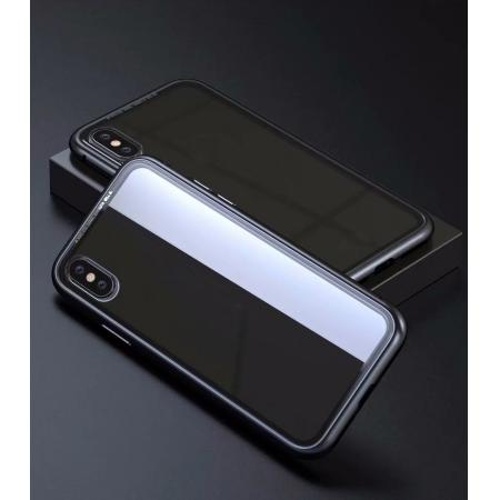 Luxury Magnetic Metal Frame Tempered Glass Back Cover Case For iPhone XR - Black&Clear