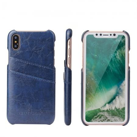 Oil Wax Style Insert Card Leather Back Case Cover for iPhone XS - Dark Blue