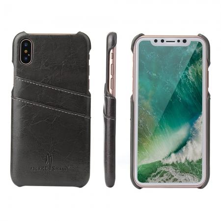 Oil Wax Style Insert Card Leather Back Case Cover for iPhone XS - Dark Grey