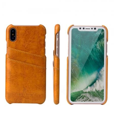 Oil Wax Style Insert Card Leather Back Case Cover for iPhone XS - Orange
