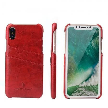 Oil Wax Style Insert Card Leather Back Case Cover for iPhone XS - Red