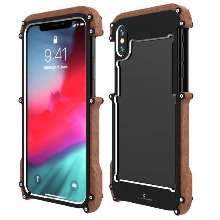 R-JUST Metal Aluminum + Wood Hybrid Armor Bumper Case Cover For iPhone XS Max / XR / XS