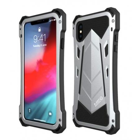 Shockproof R-JUST Aluminum Metal Armor Bumper Case Cover For iPhone X XR XS XS Max - Silver